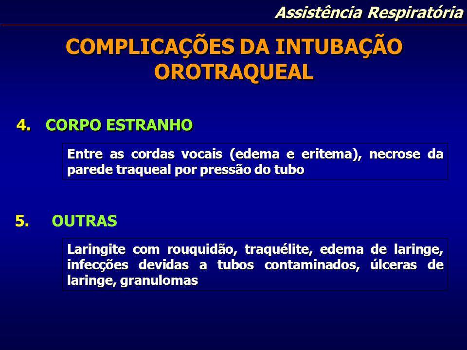 COMPLICAÇÕES DA INTUBAÇÃO OROTRAQUEAL