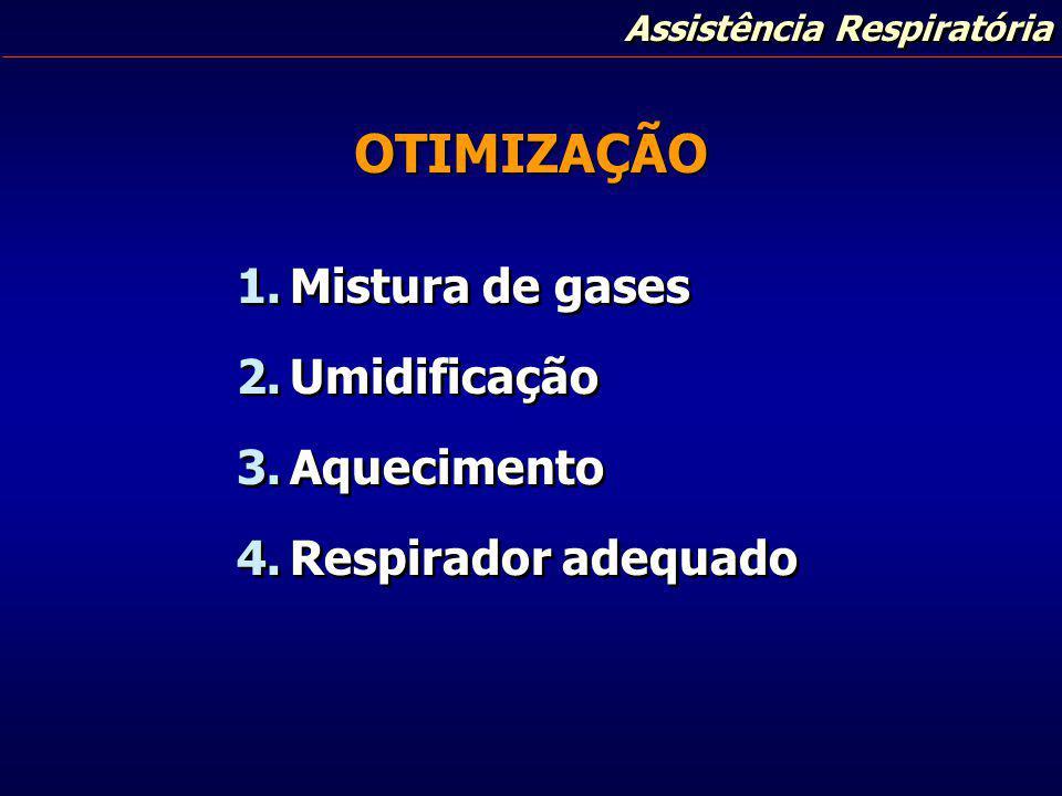 OTIMIZAÇÃO Mistura de gases Umidificação Aquecimento