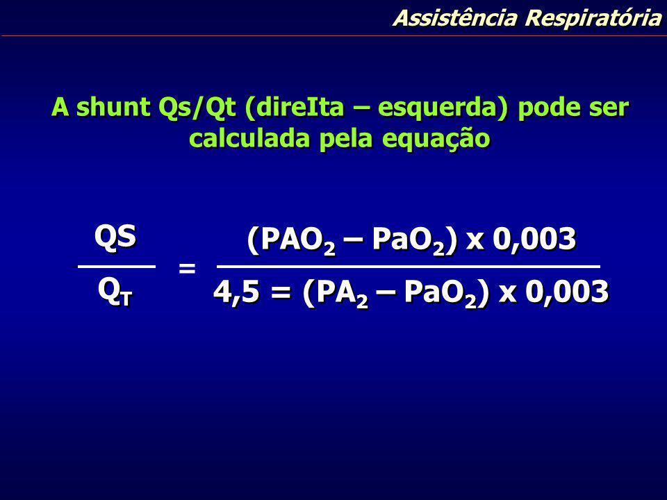 A shunt Qs/Qt (direIta – esquerda) pode ser calculada pela equação