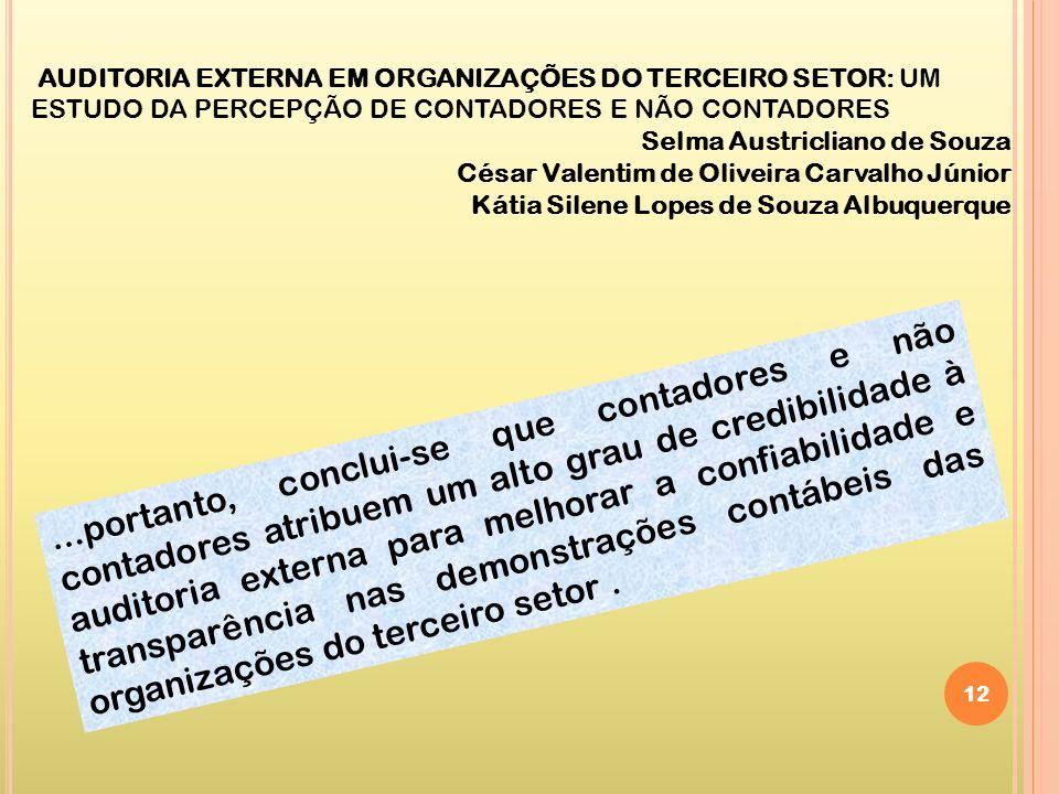 AUDITORIA EXTERNA EM ORGANIZAÇÕES DO TERCEIRO SETOR: UM ESTUDO DA PERCEPÇÃO DE CONTADORES E NÃO CONTADORES