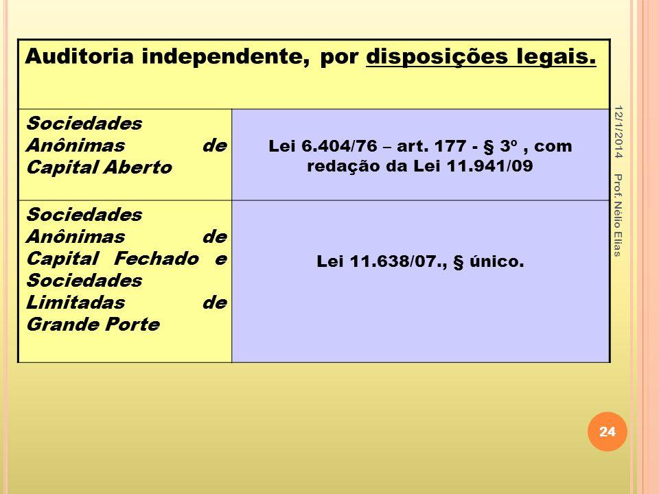 Lei 6.404/76 – art. 177 - § 3º , com redação da Lei 11.941/09