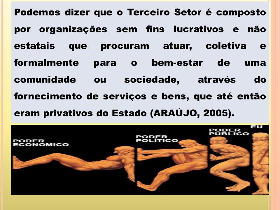 Podemos dizer que o Terceiro Setor é composto por organizações sem fins lucrativos e não estatais que procuram atuar, coletiva e formalmente para o bem-estar de uma comunidade ou sociedade, através do fornecimento de serviços e bens, que até então eram privativos do Estado (ARAÚJO, 2005).