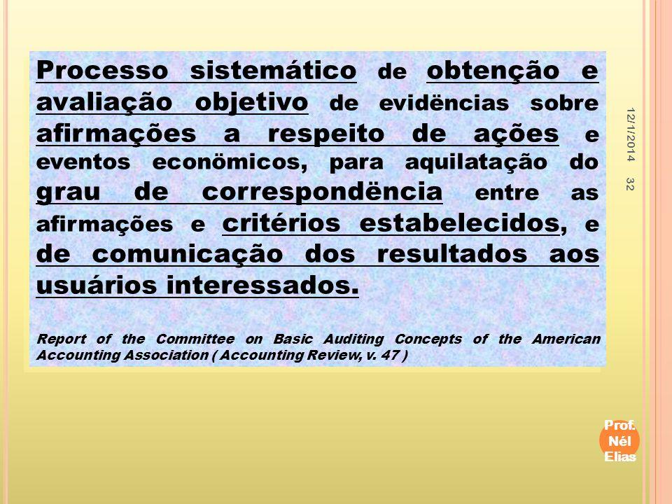 Processo sistemático de obtenção e avaliação objetivo de evidëncias sobre afirmações a respeito de ações e eventos econömicos, para aquilatação do grau de correspondëncia entre as afirmações e critérios estabelecidos, e de comunicação dos resultados aos usuários interessados.