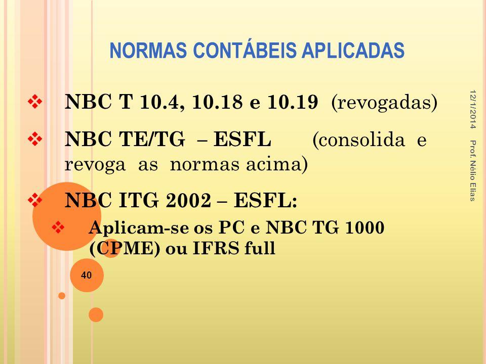 NORMAS CONTÁBEIS APLICADAS