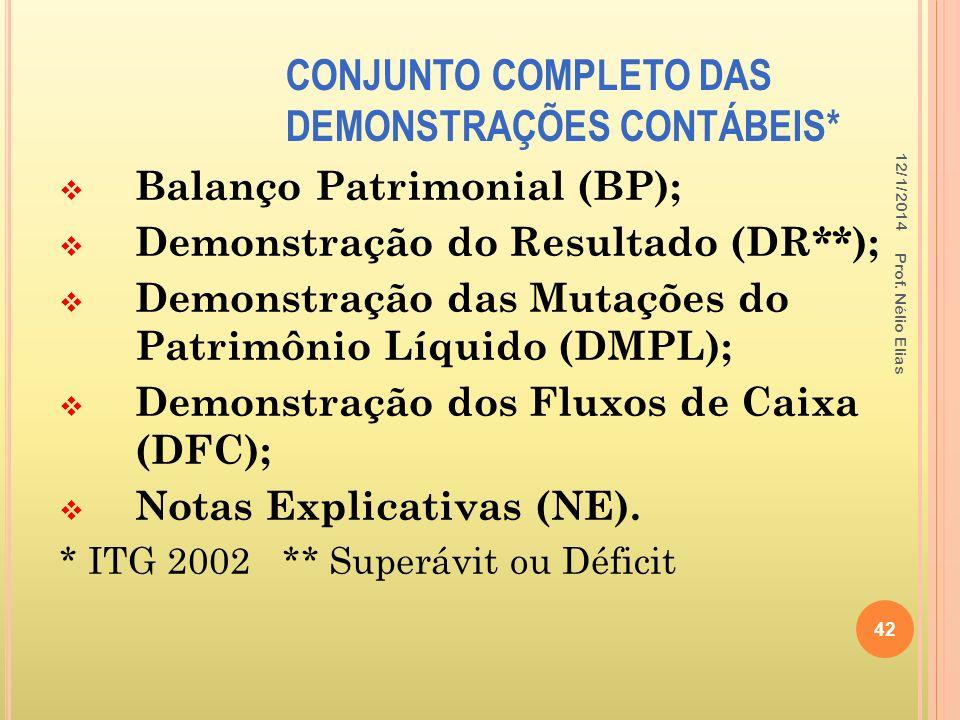 CONJUNTO COMPLETO DAS DEMONSTRAÇÕES CONTÁBEIS*