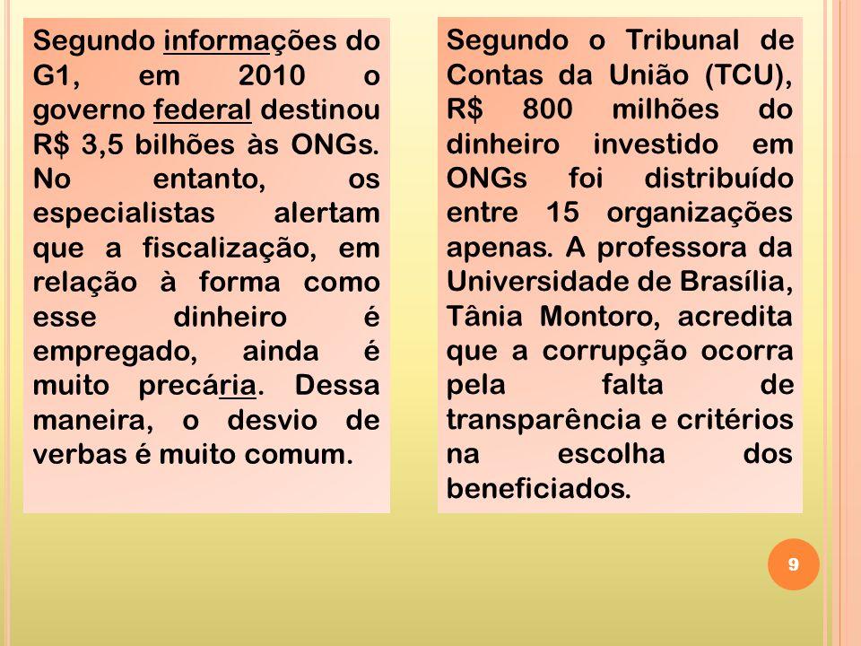 Segundo informações do G1, em 2010 o governo federal destinou R$ 3,5 bilhões às ONGs. No entanto, os especialistas alertam que a fiscalização, em relação à forma como esse dinheiro é empregado, ainda é muito precária. Dessa maneira, o desvio de verbas é muito comum.