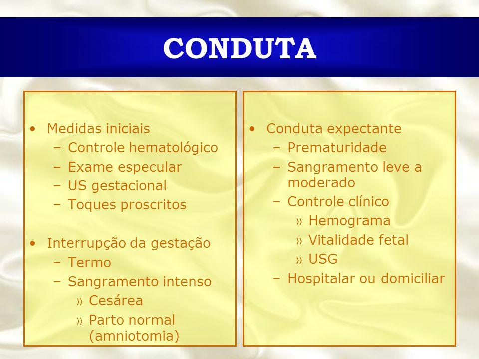 CONDUTA Medidas iniciais Controle hematológico Exame especular