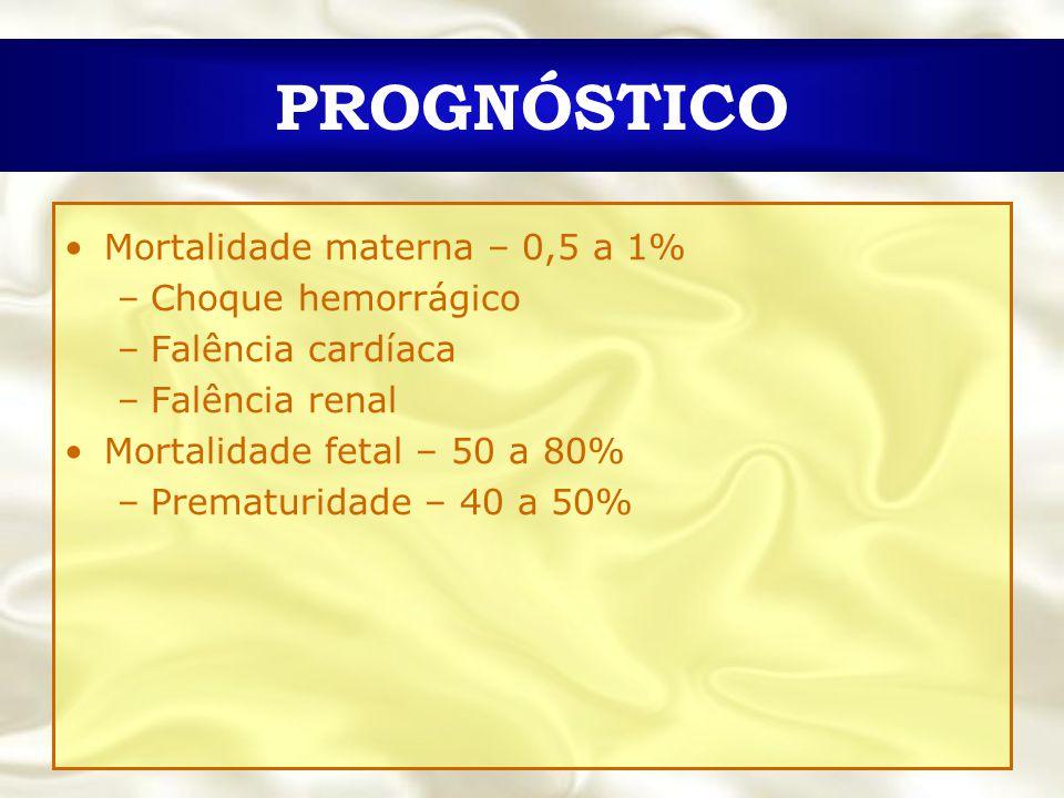 PROGNÓSTICO Mortalidade materna – 0,5 a 1% Choque hemorrágico