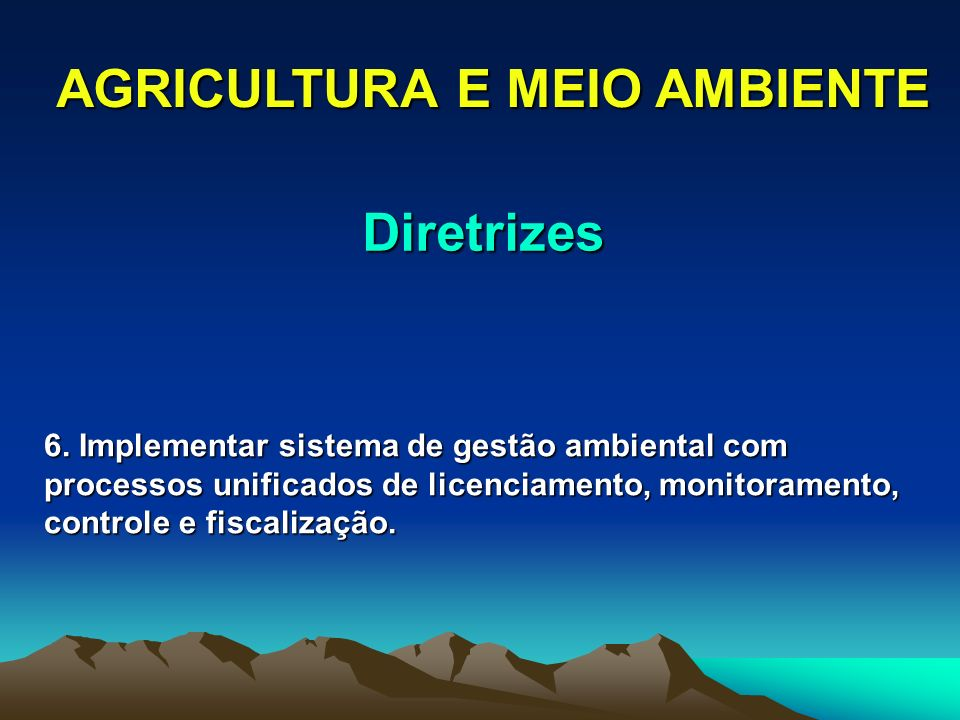 AGRICULTURA E MEIO AMBIENTE