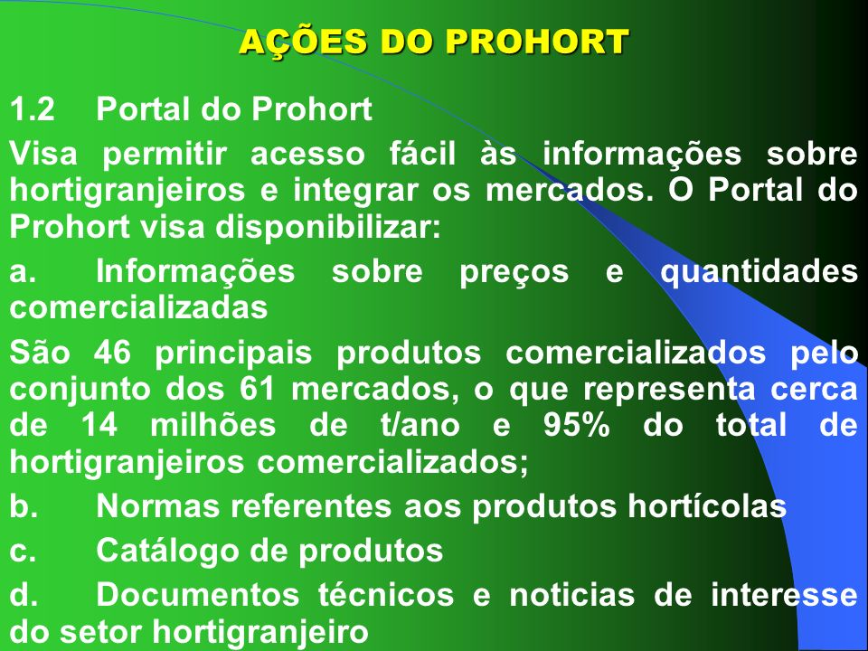 AÇÕES DO PROHORT 1.2 Portal do Prohort.