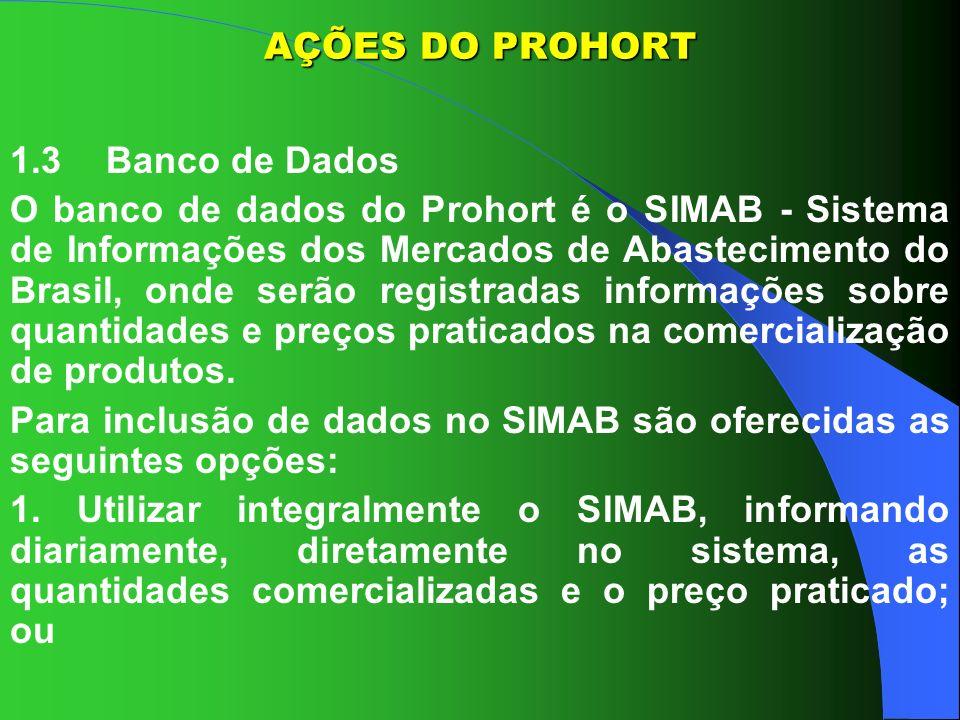AÇÕES DO PROHORT1.3 Banco de Dados.