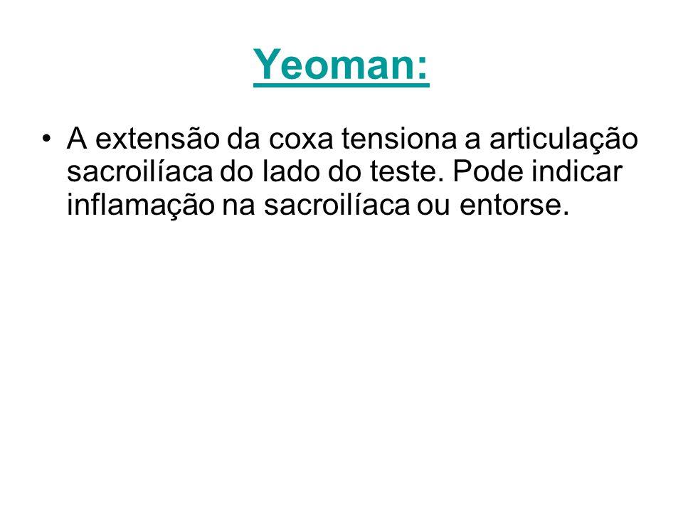 Yeoman: A extensão da coxa tensiona a articulação sacroilíaca do lado do teste.