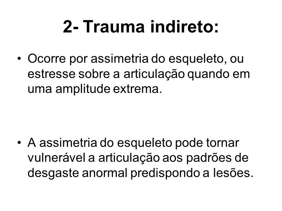 2- Trauma indireto: Ocorre por assimetria do esqueleto, ou estresse sobre a articulação quando em uma amplitude extrema.
