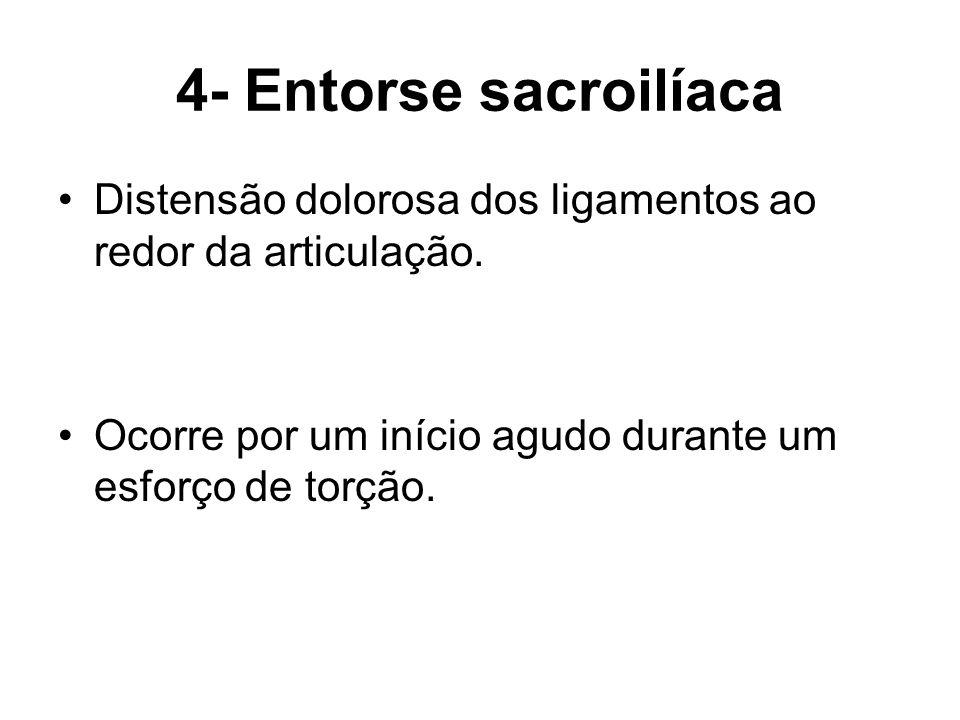 4- Entorse sacroilíaca Distensão dolorosa dos ligamentos ao redor da articulação.