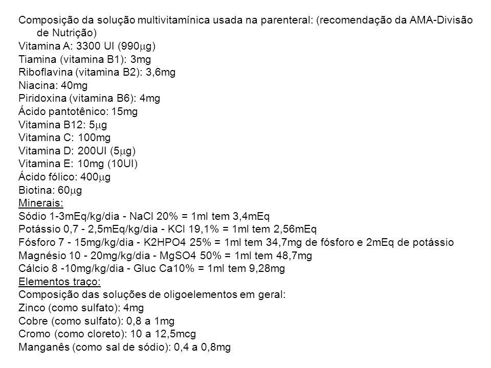 Composição da solução multivitamínica usada na parenteral: (recomendação da AMA-Divisão de Nutrição)