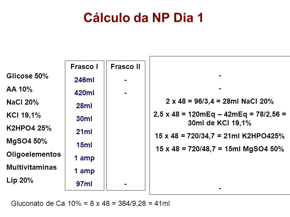 2,5 x 48 = 120mEq – 42mEq = 78/2,56 = 30ml de KCl 19,1%