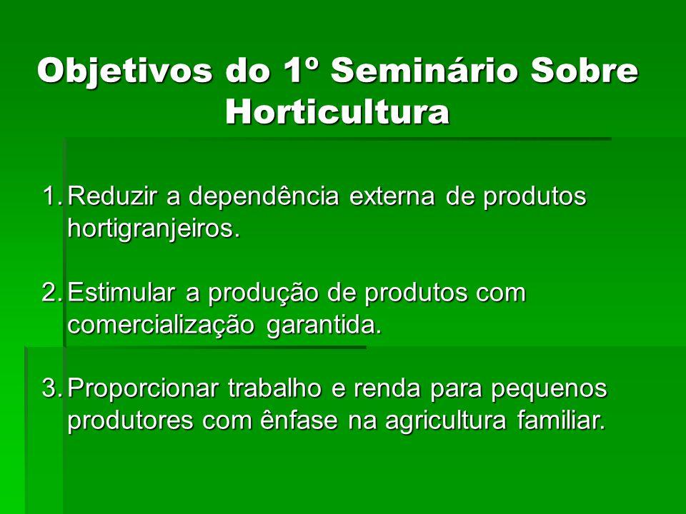 Objetivos do 1º Seminário Sobre Horticultura