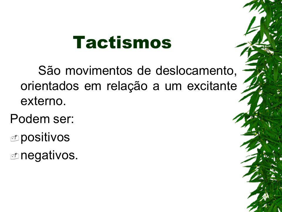 Tactismos São movimentos de deslocamento, orientados em relação a um excitante externo. Podem ser:
