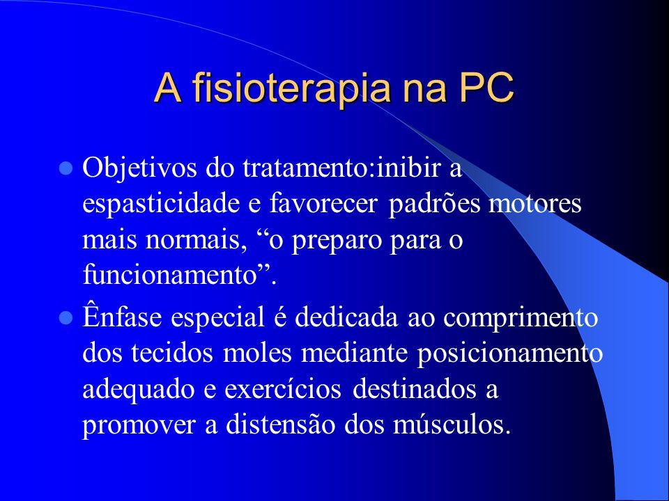 A fisioterapia na PC Objetivos do tratamento:inibir a espasticidade e favorecer padrões motores mais normais, o preparo para o funcionamento .