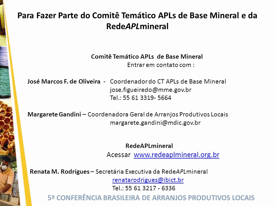 Comitê Temático APLs de Base Mineral