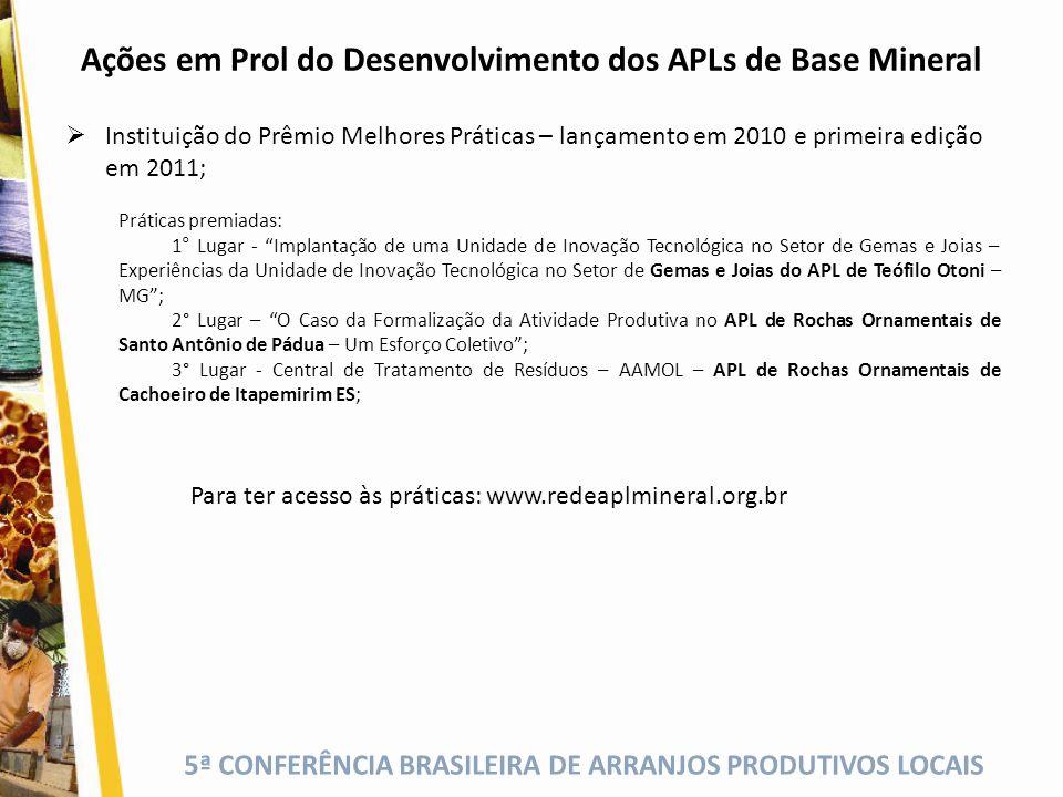Ações em Prol do Desenvolvimento dos APLs de Base Mineral