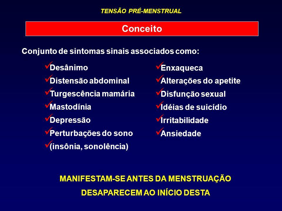 MANIFESTAM-SE ANTES DA MENSTRUAÇÃO DESAPARECEM AO INÍCIO DESTA