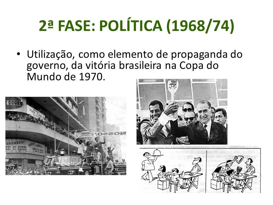 2ª FASE: POLÍTICA (1968/74) Utilização, como elemento de propaganda do governo, da vitória brasileira na Copa do Mundo de 1970.