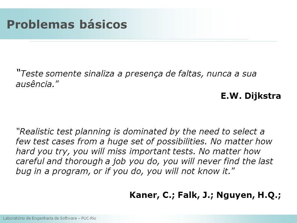 Problemas básicos Teste somente sinaliza a presença de faltas, nunca a sua ausência. E.W. Dijkstra.