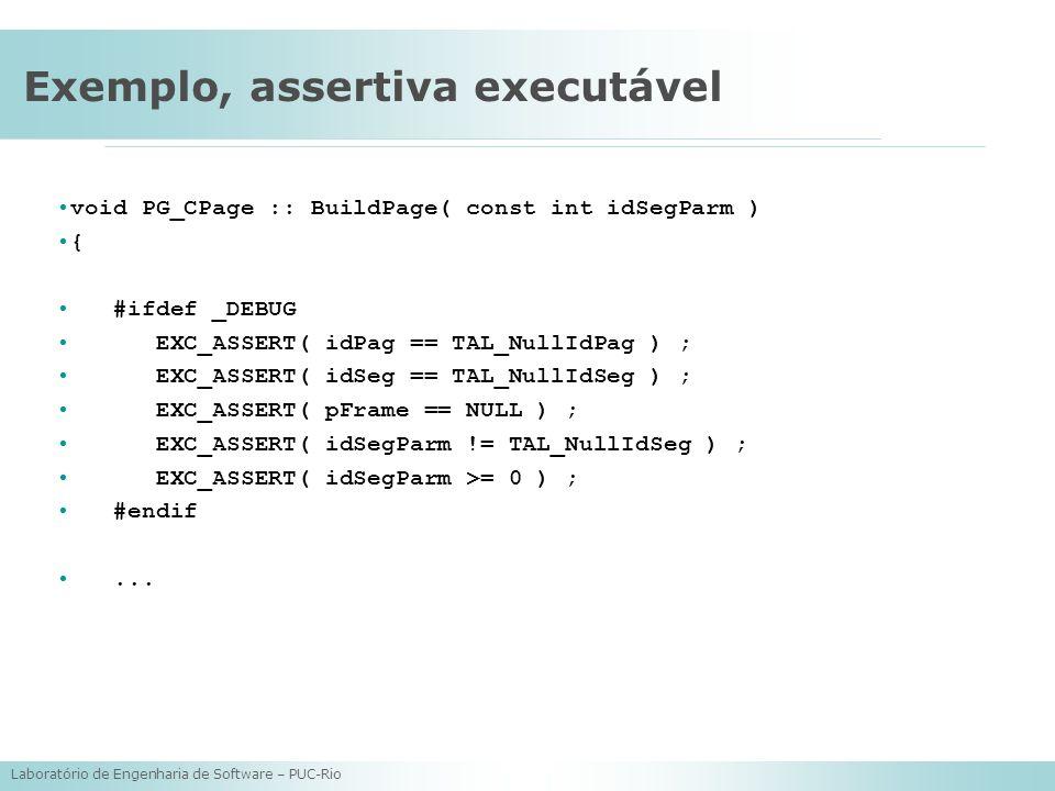 Exemplo, assertiva executável