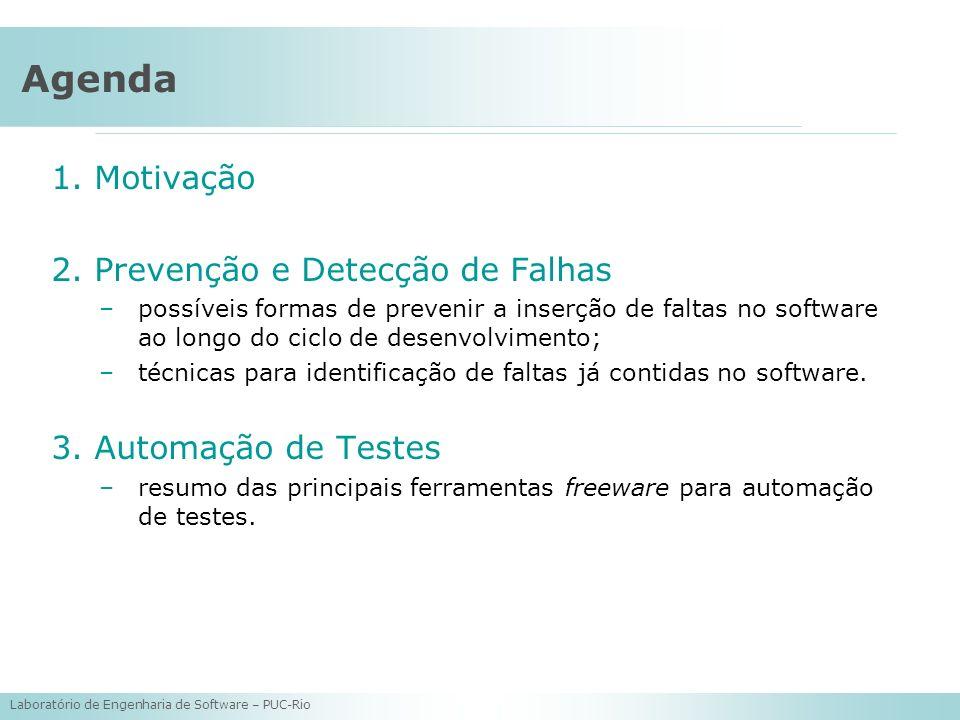Agenda Motivação Prevenção e Detecção de Falhas Automação de Testes