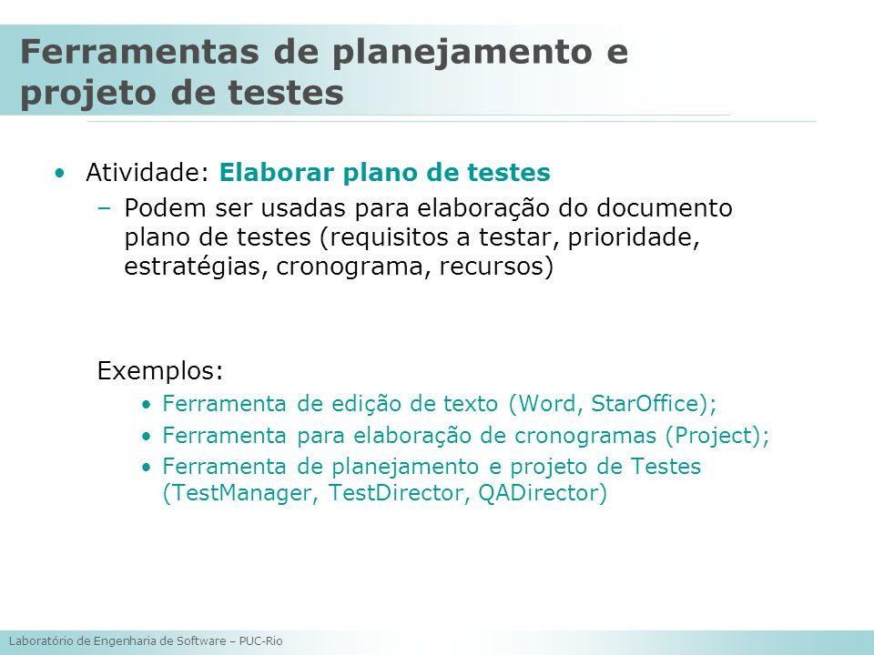 Ferramentas de planejamento e projeto de testes
