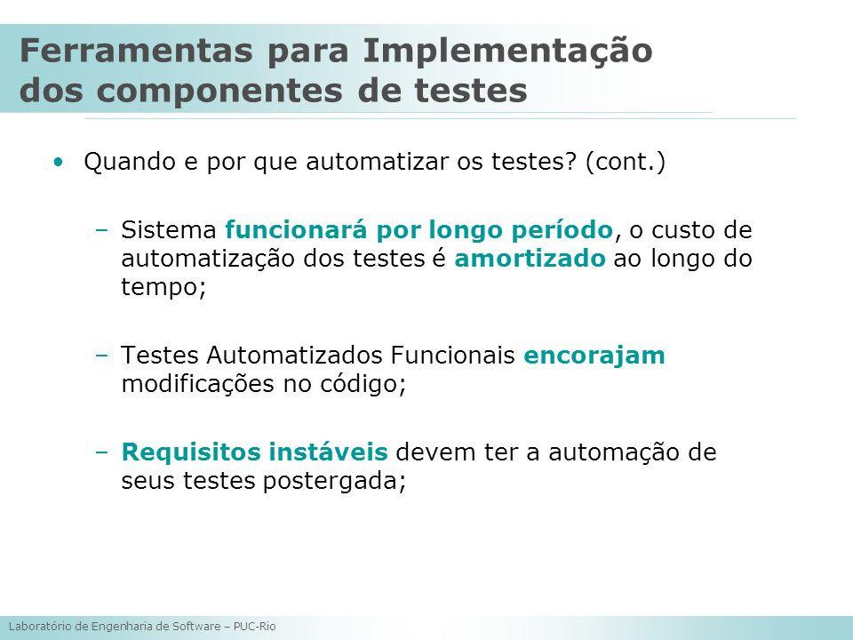 Ferramentas para Implementação dos componentes de testes