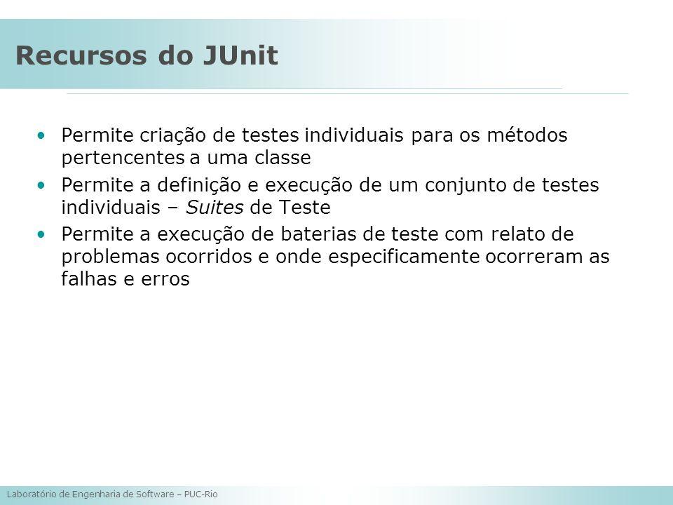 Recursos do JUnit Permite criação de testes individuais para os métodos pertencentes a uma classe.