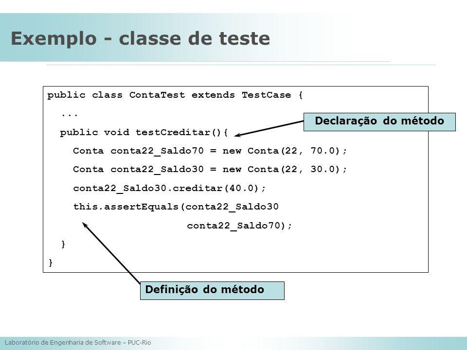Exemplo - classe de teste