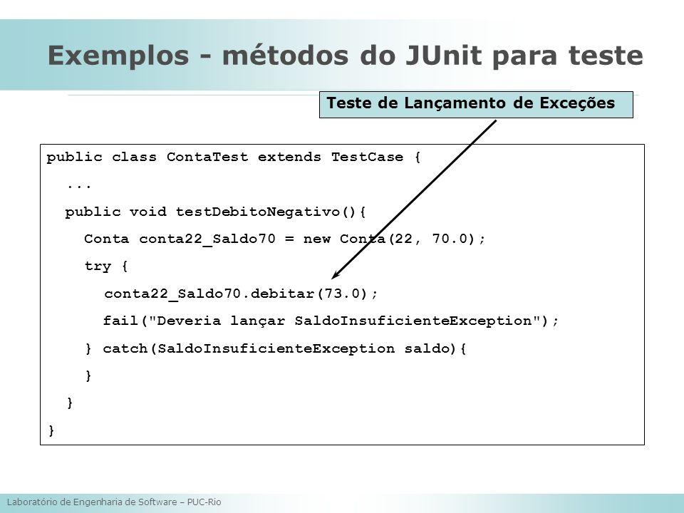Exemplos - métodos do JUnit para teste