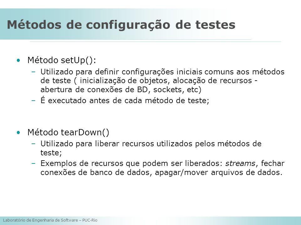 Métodos de configuração de testes