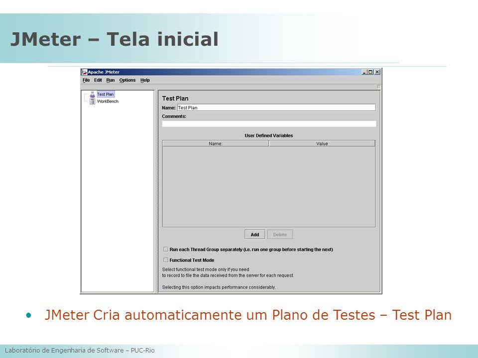 JMeter – Tela inicial JMeter Cria automaticamente um Plano de Testes – Test Plan.