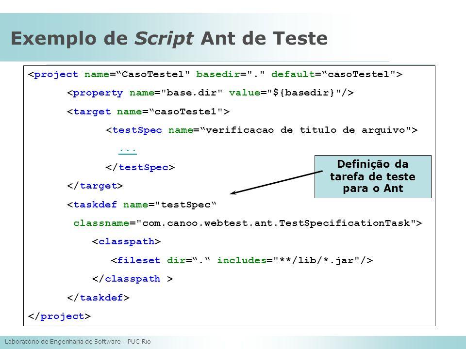 Exemplo de Script Ant de Teste