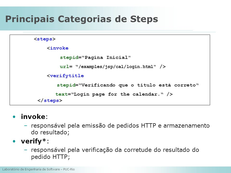 Principais Categorias de Steps