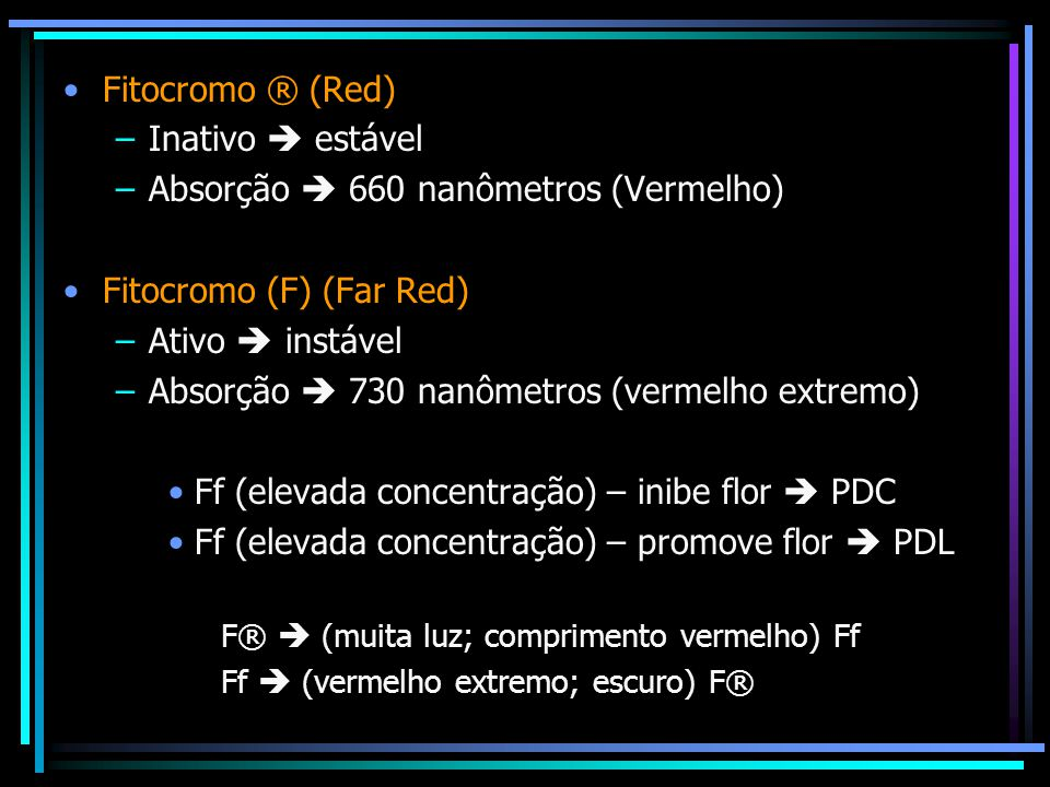 Absorção  660 nanômetros (Vermelho) Fitocromo (F) (Far Red)