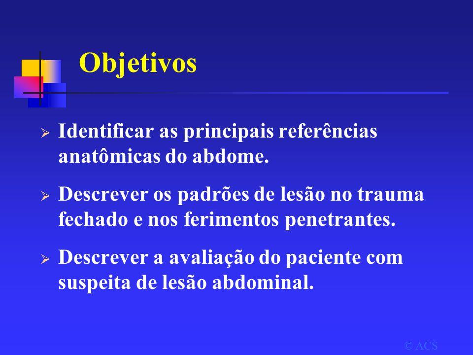 Objetivos Identificar as principais referências anatômicas do abdome.