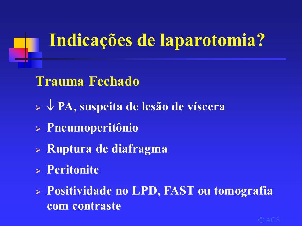 Indicações de laparotomia