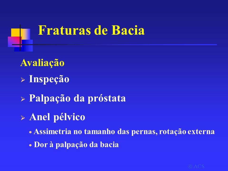 Fraturas de Bacia Avaliação Inspeção Palpação da próstata Anel pélvico