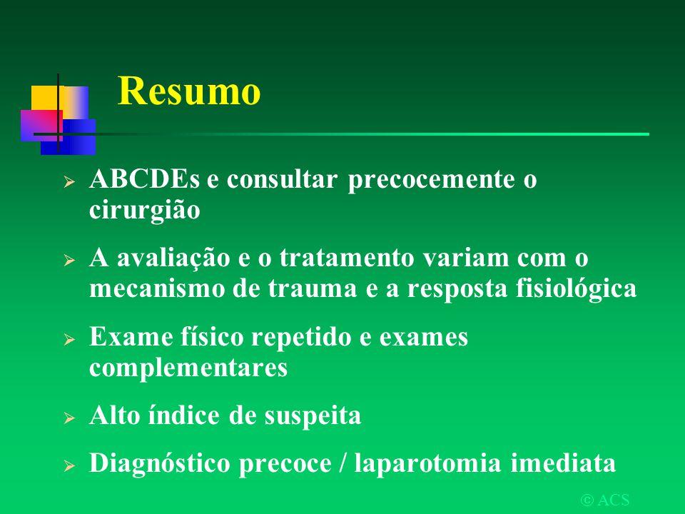 Resumo ABCDEs e consultar precocemente o cirurgião