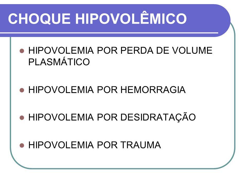 CHOQUE HIPOVOLÊMICO HIPOVOLEMIA POR PERDA DE VOLUME PLASMÁTICO