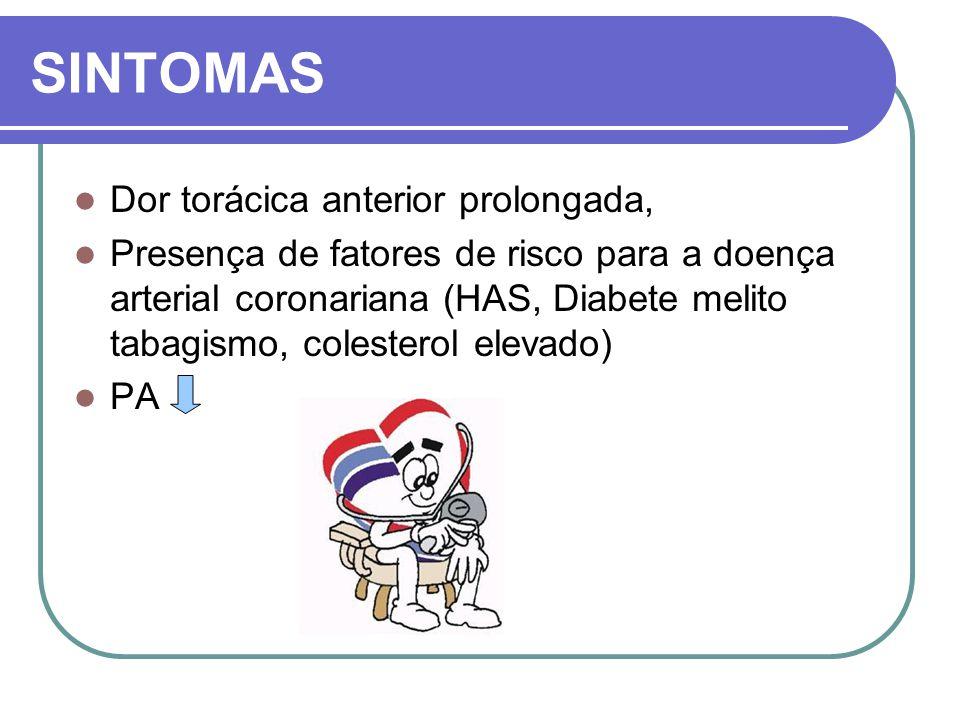 SINTOMAS Dor torácica anterior prolongada,