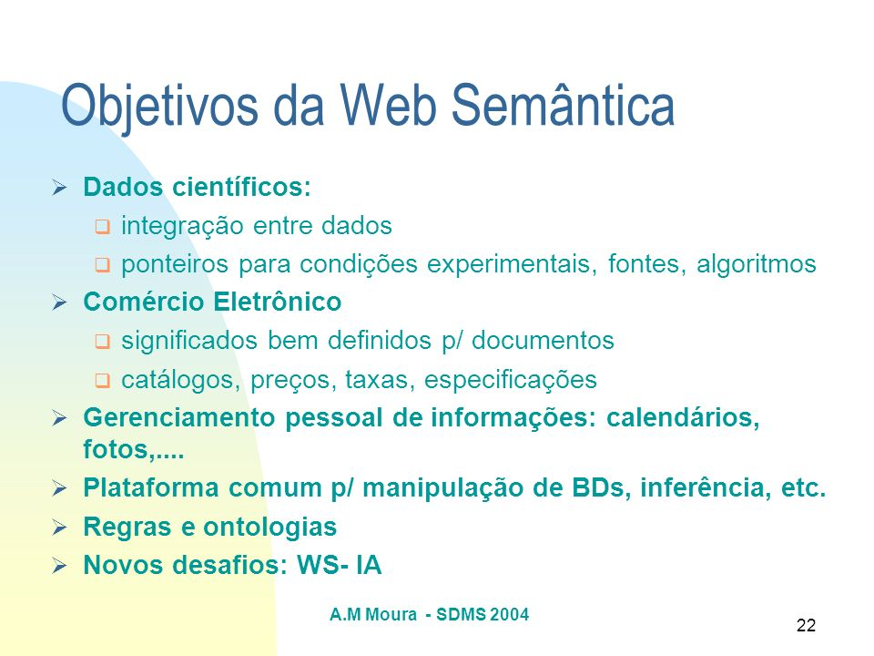 Objetivos da Web Semântica