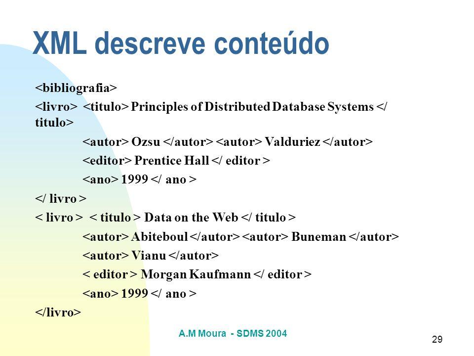 XML descreve conteúdo <bibliografia>