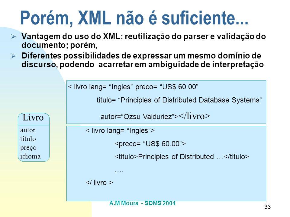 Porém, XML não é suficiente...