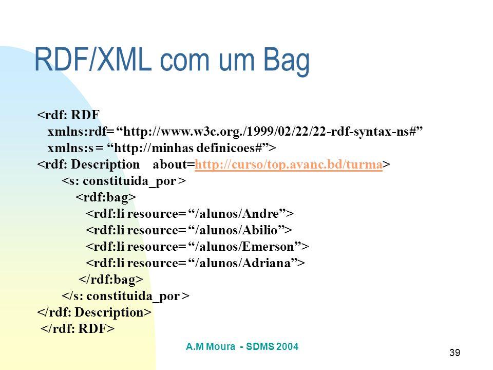 RDF/XML com um Bag <rdf: RDF